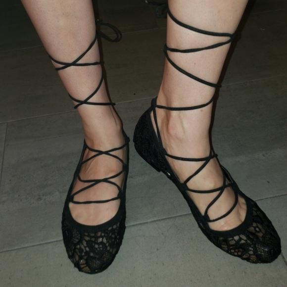 7bc55e4bf82 Black Lace Up Ballet Flats | Lace Print | 9